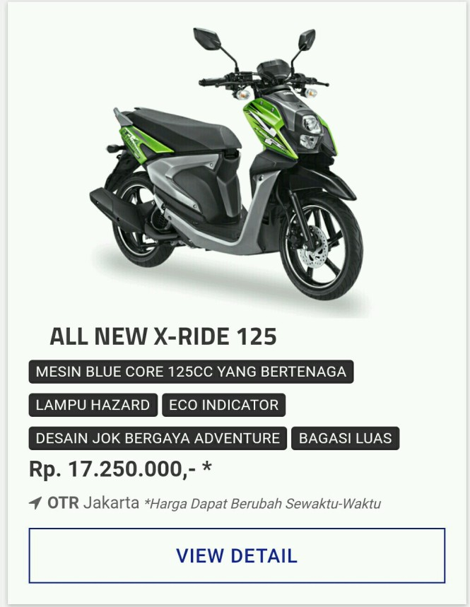Kredit Motor Yamaha All New Xride 125