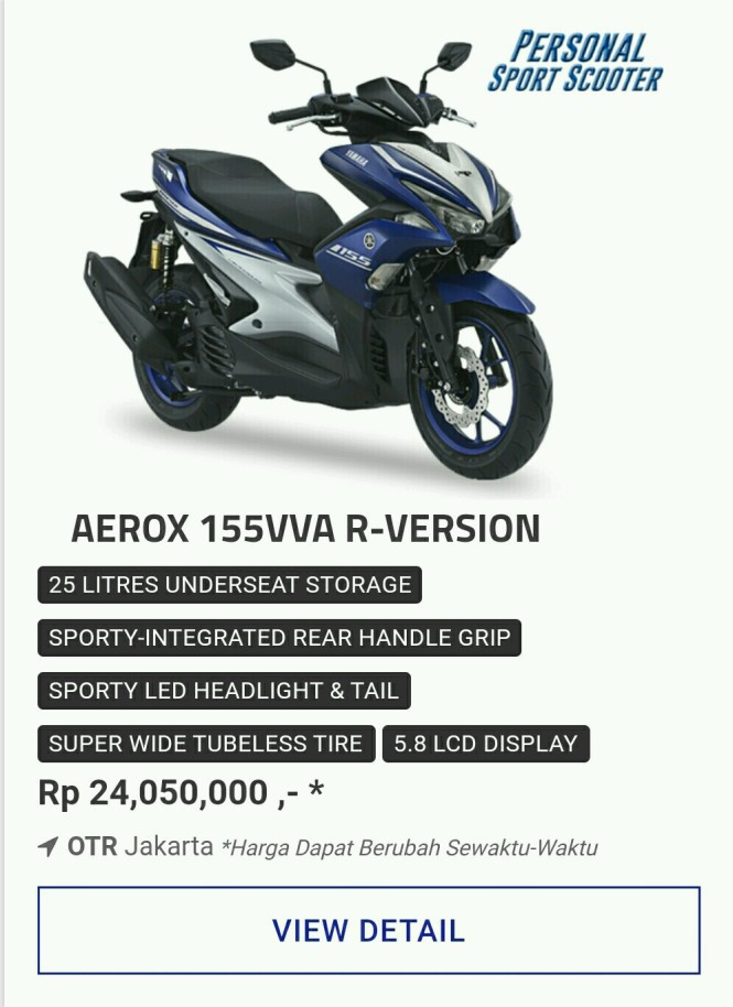 Kredit Motor Yamaha Aerox 155Vva R-version