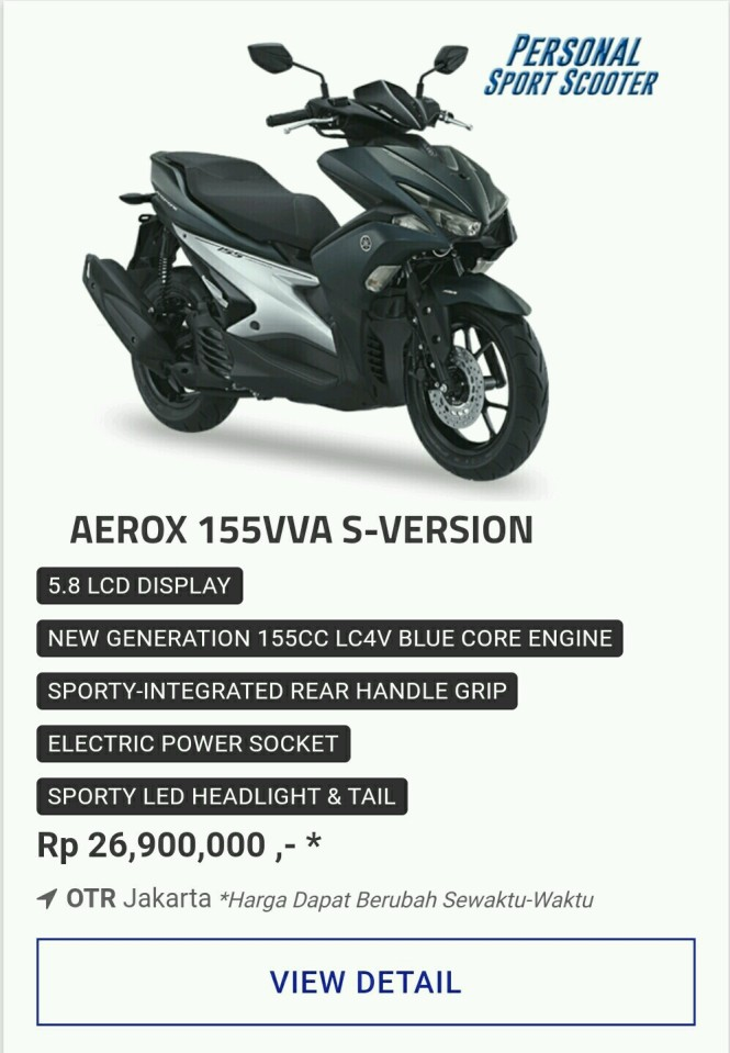 Kredit Yamaha Aerox 155Cc Vva S-Version